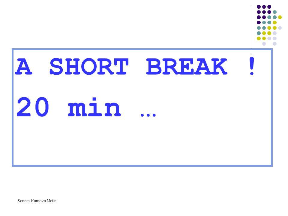 A SHORT BREAK ! 20 min … Senem Kumova Metin
