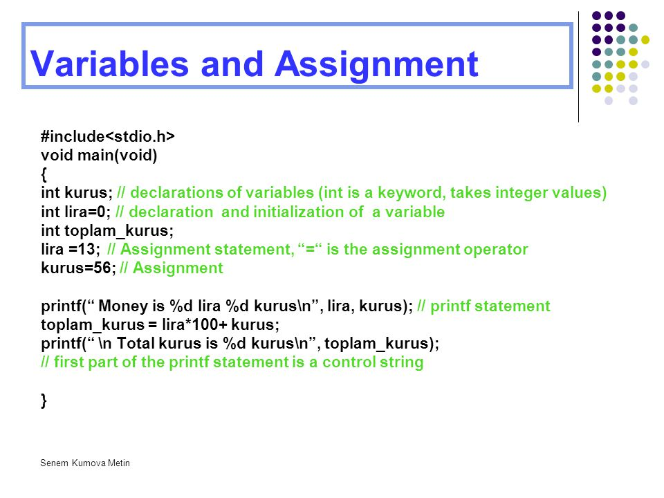 Variables and Assignment