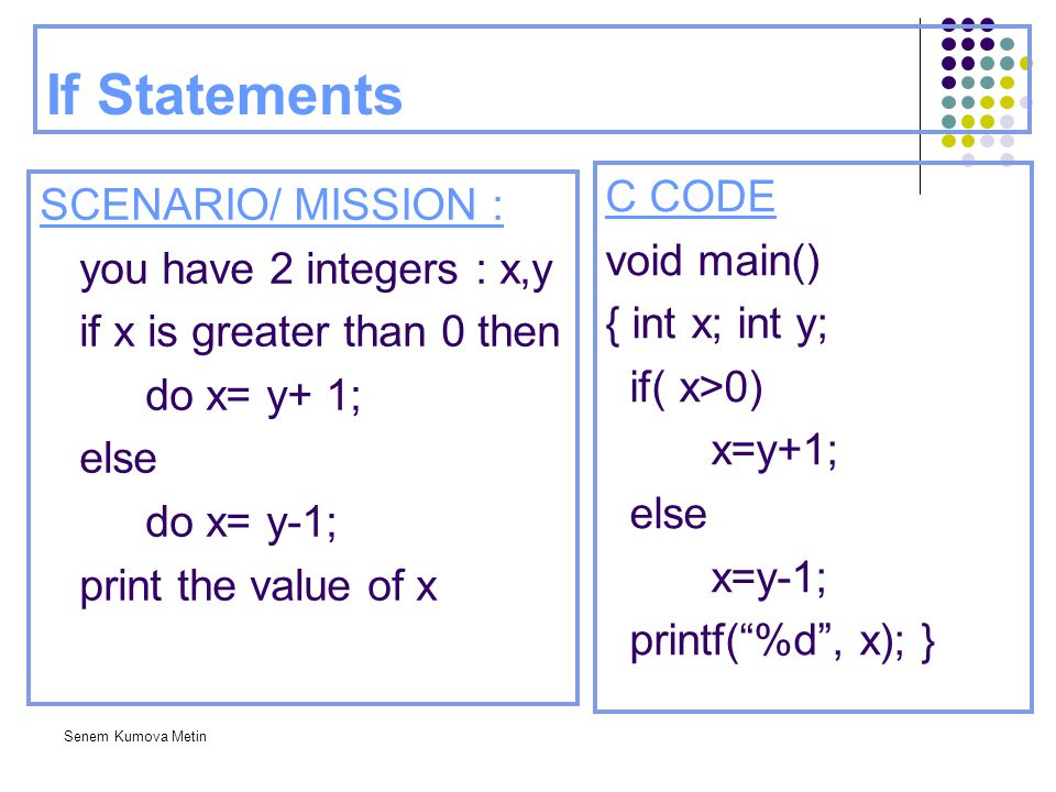 If Statements C CODE SCENARIO/ MISSION : void main()