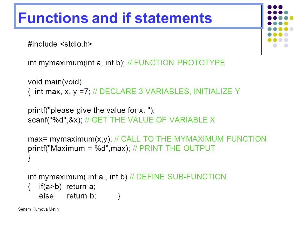 Functions and if statements