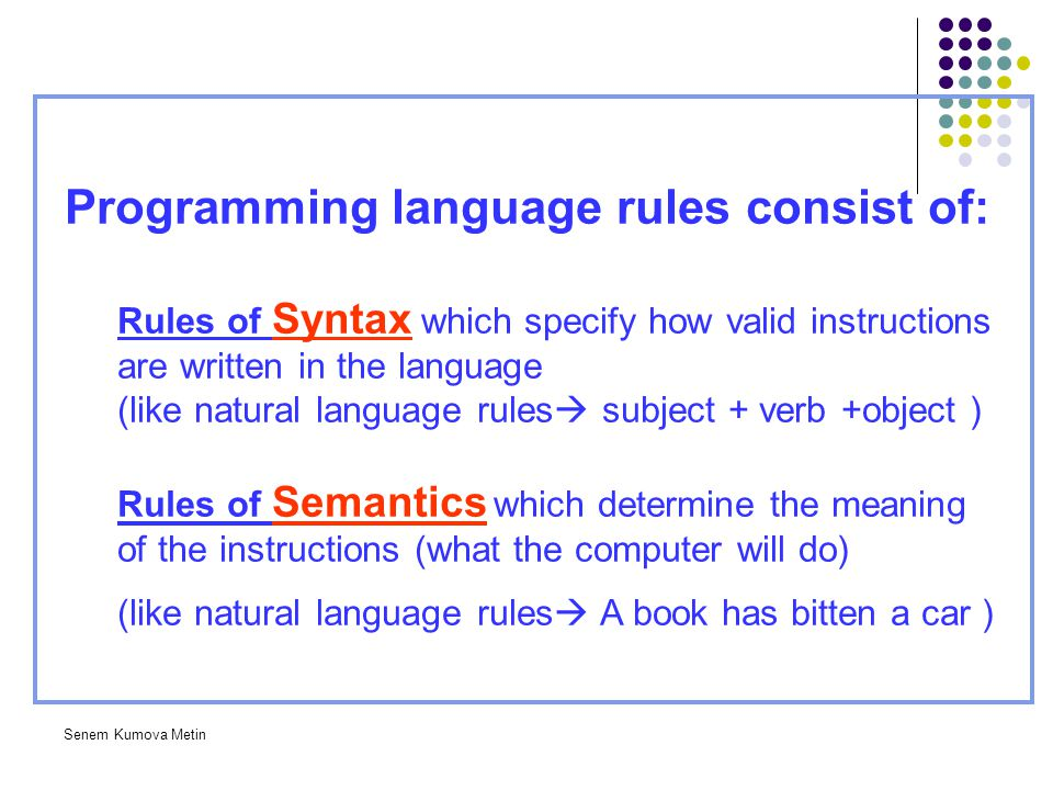 Programming language rules consist of: