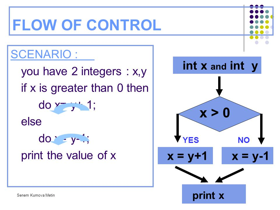 FLOW OF CONTROL x > 0 print x int x and int y x = y+1 x = y-1
