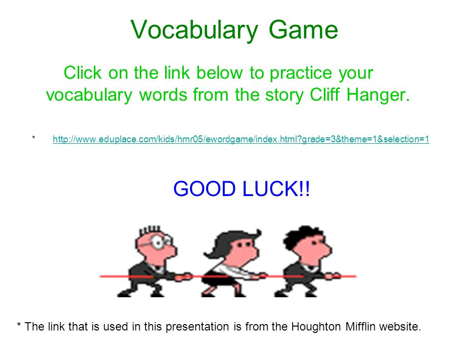 Vocabulary Game GOOD LUCK!!