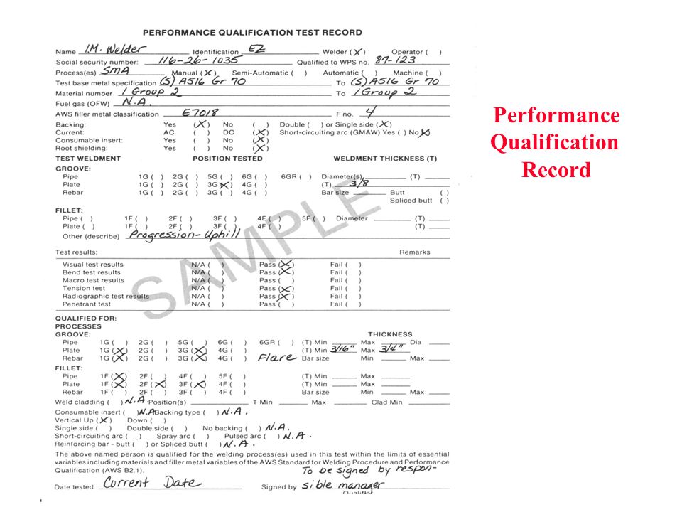 Performance Qualification Record