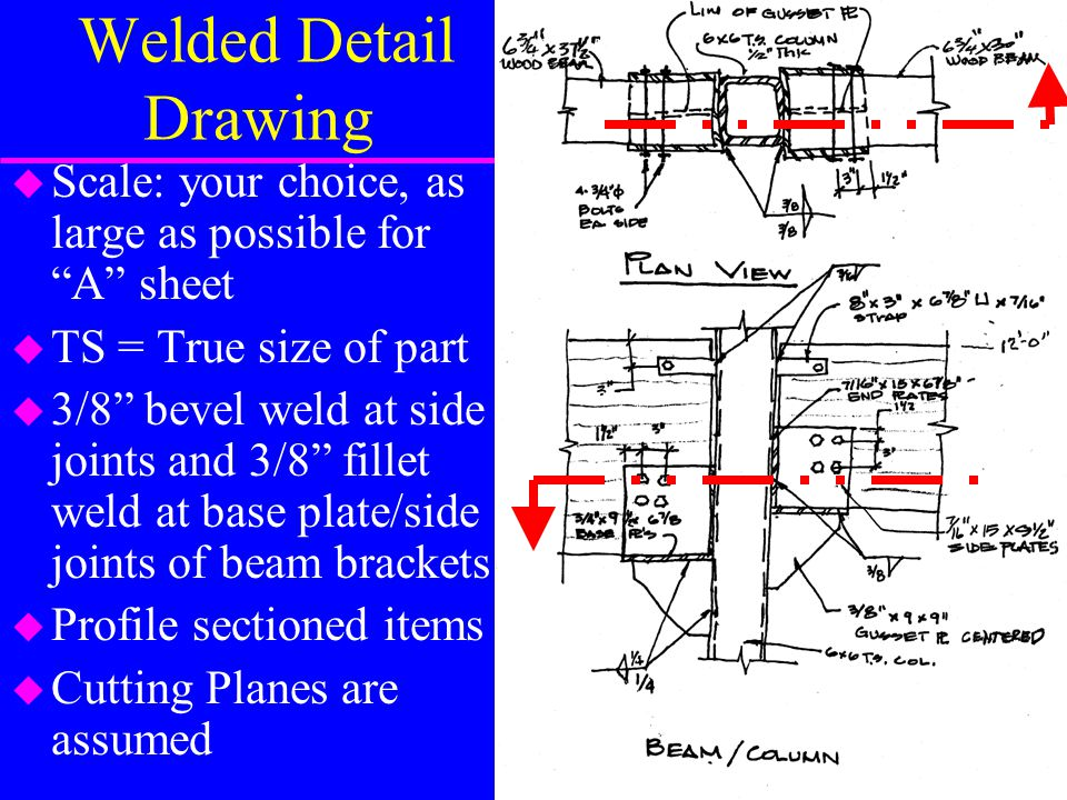 Welded Detail Drawing Scale: your choice, as large as possible for A sheet. TS = True size of part.