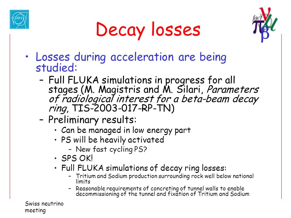 Decay losses Losses during acceleration are being studied: