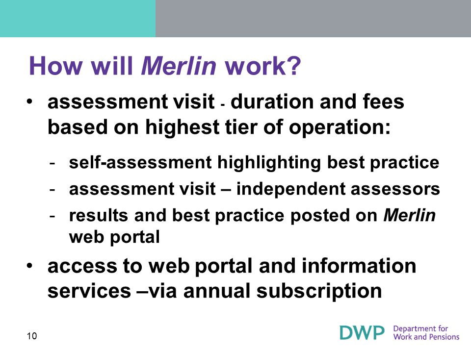 How will Merlin work assessment visit - duration and fees based on highest tier of operation: self-assessment highlighting best practice.