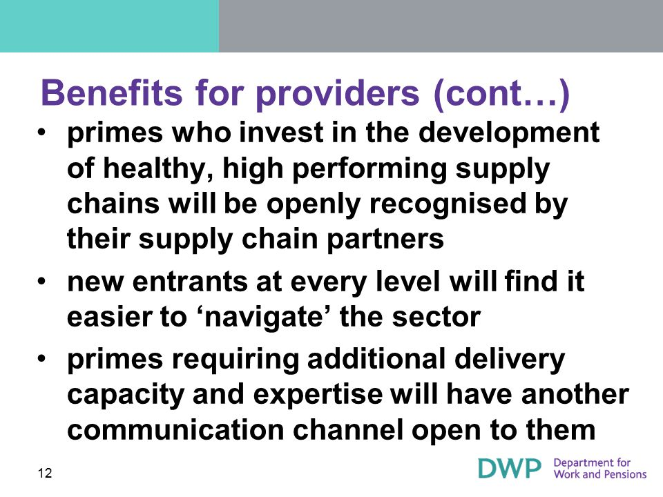 Benefits for providers (cont…)