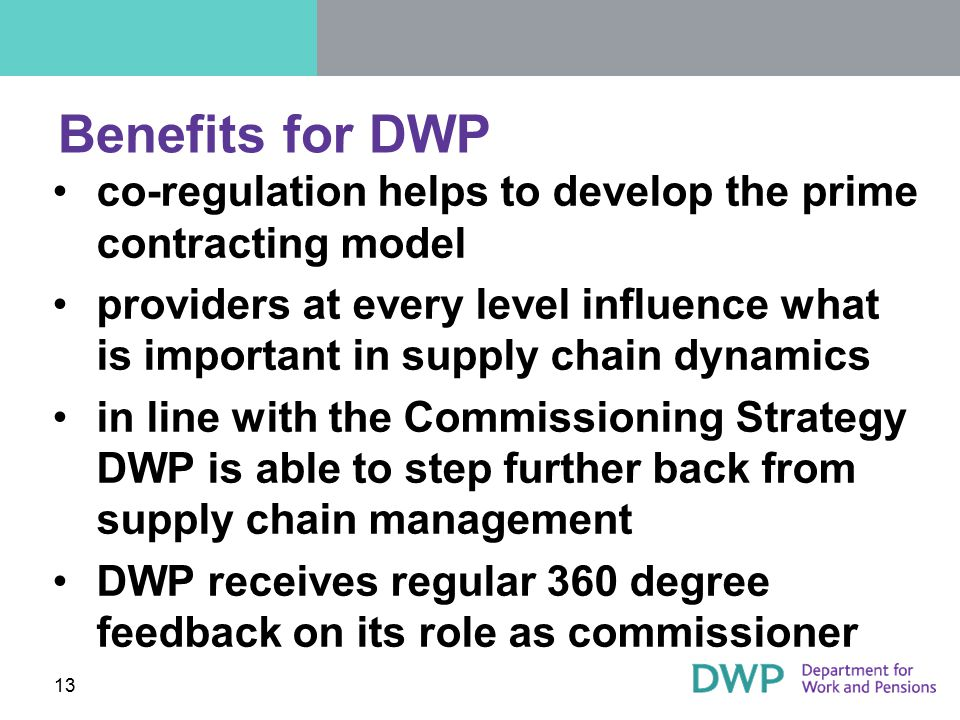 Benefits for DWP co-regulation helps to develop the prime contracting model.