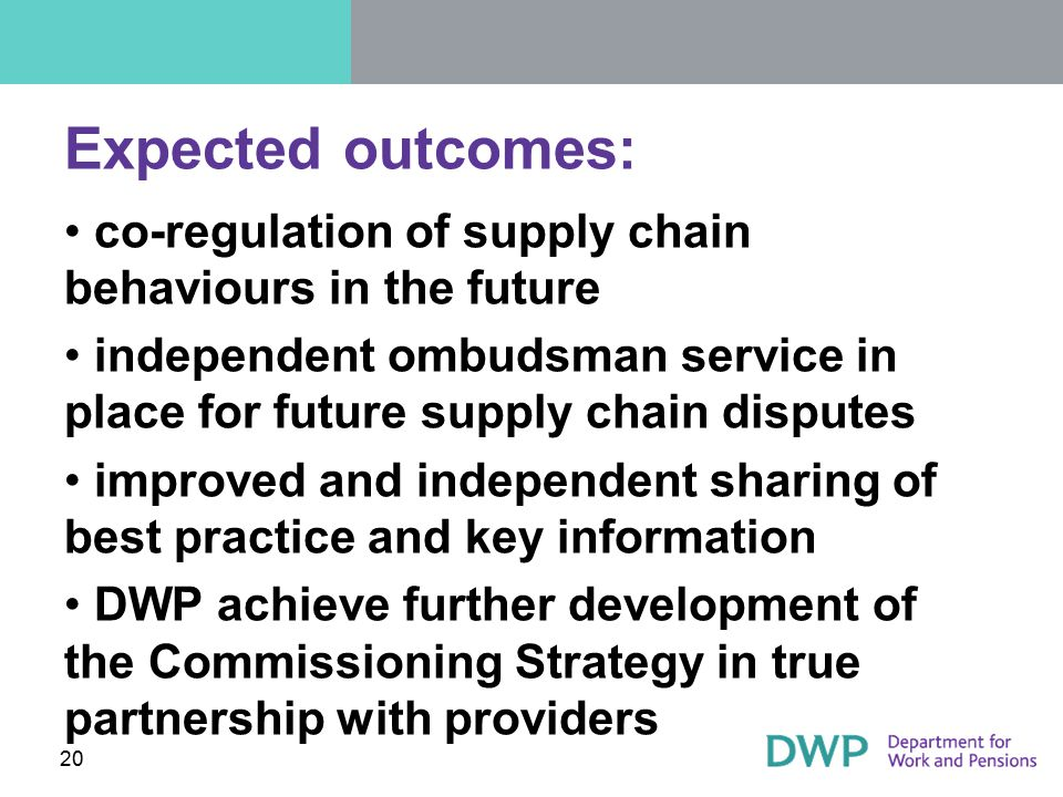 Expected outcomes: co-regulation of supply chain behaviours in the future. independent ombudsman service in place for future supply chain disputes.
