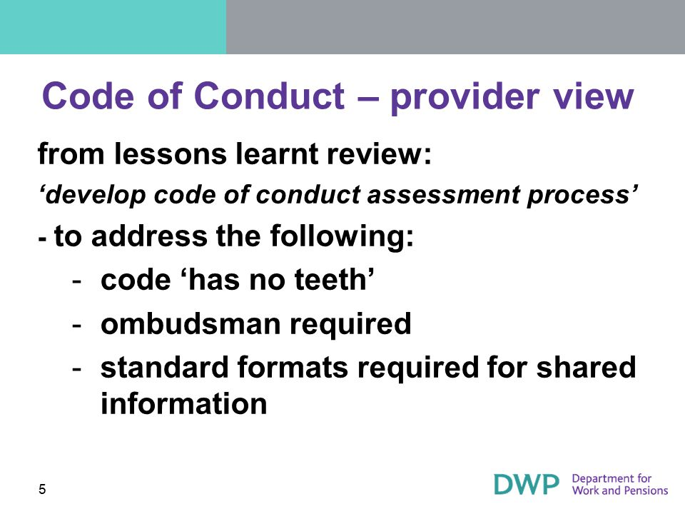 Code of Conduct – provider view