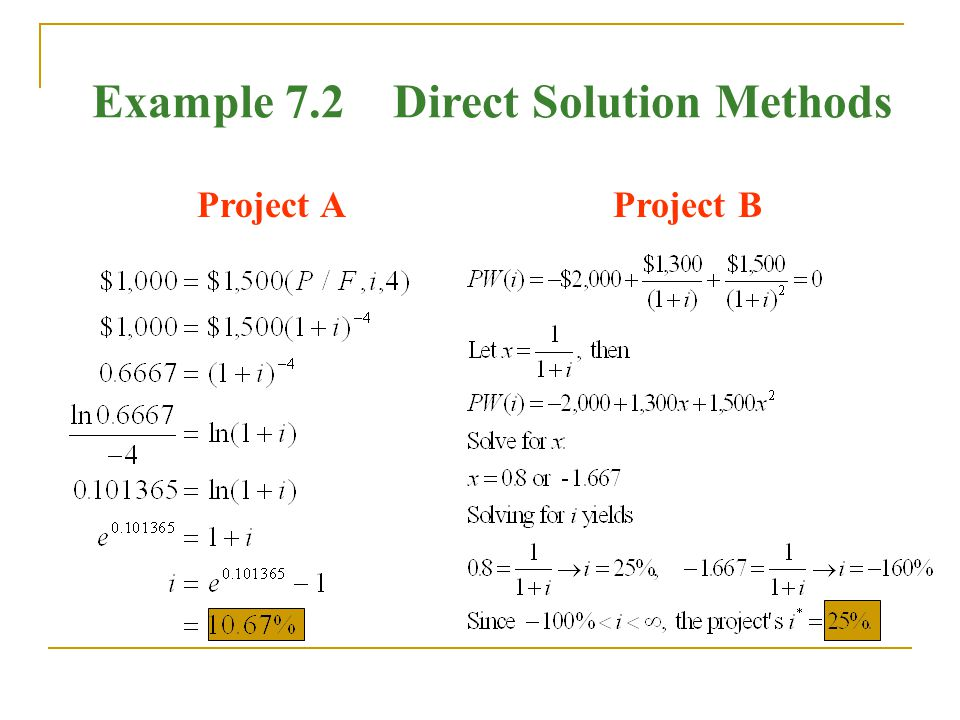 Example 7.2 Direct Solution Methods