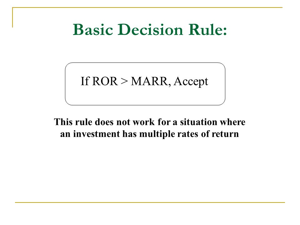 Basic Decision Rule: If ROR > MARR, Accept