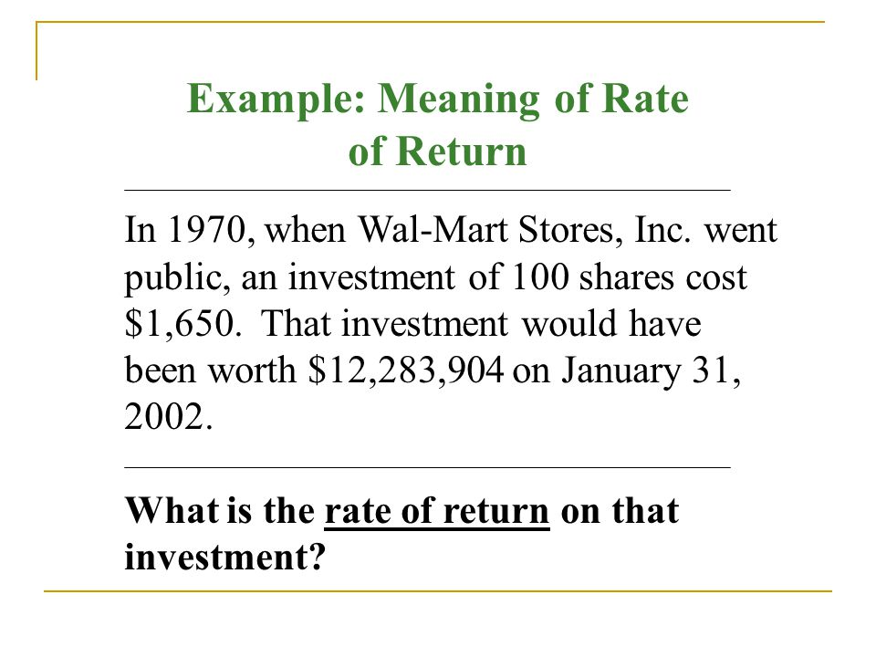 Example: Meaning of Rate of Return