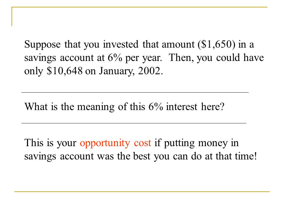 Suppose that you invested that amount ($1,650) in a savings account at 6% per year. Then, you could have only $10,648 on January, 2002.