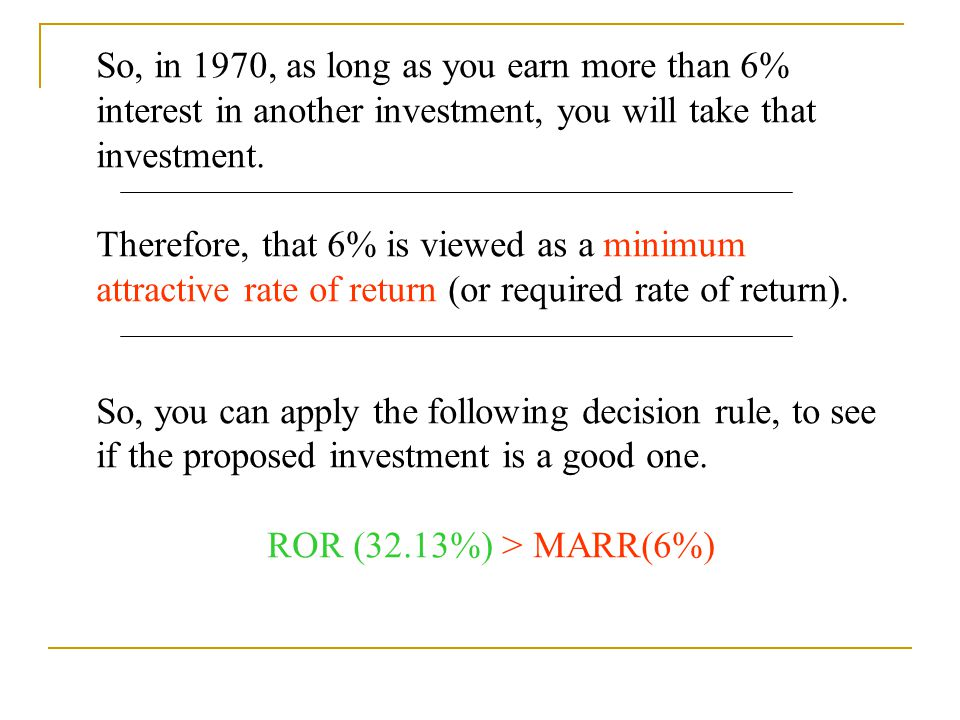 So, in 1970, as long as you earn more than 6% interest in another investment, you will take that investment.