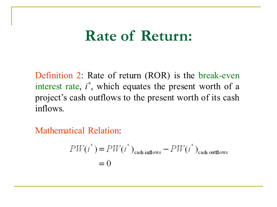 Rate of Return: