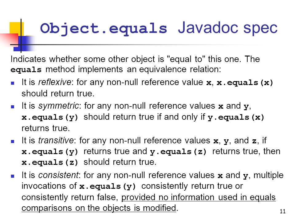 Object.equals Javadoc spec