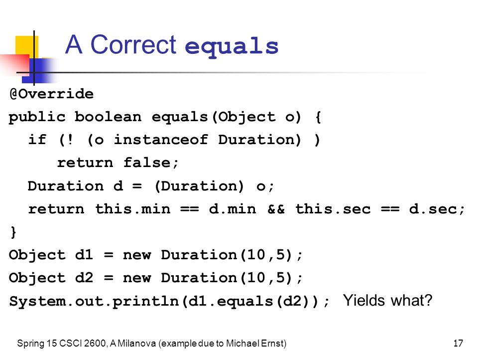 A Correct equals