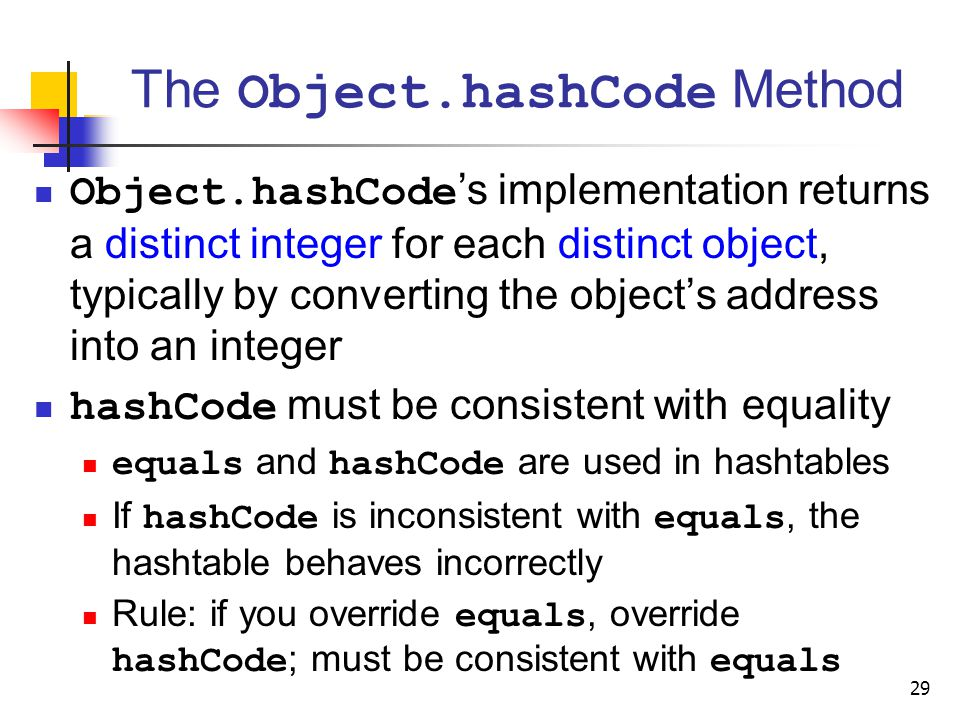 The Object.hashCode Method