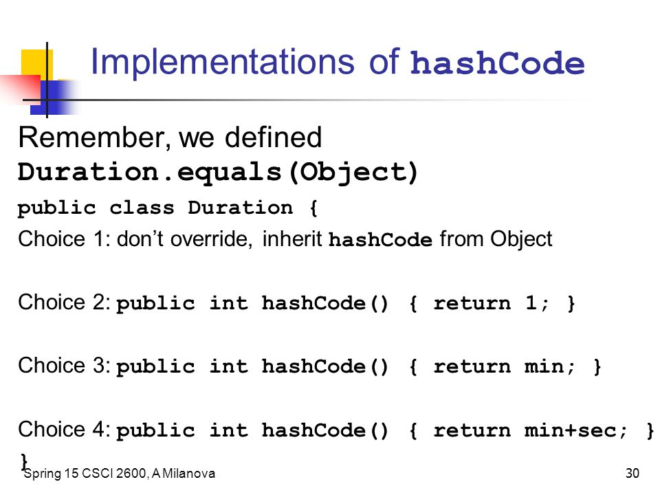 Implementations of hashCode