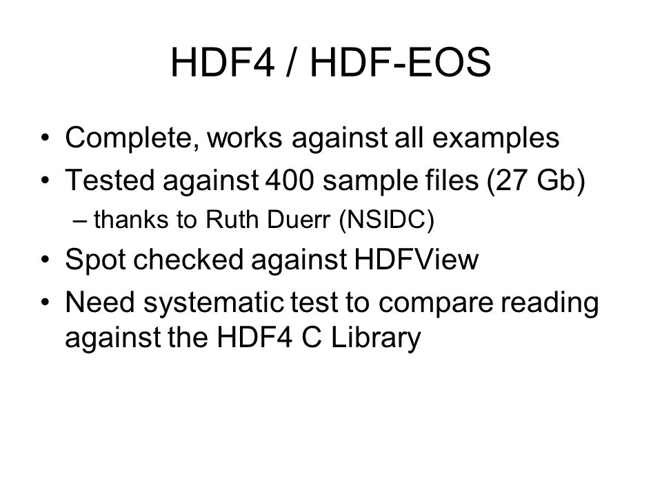 HDF4 / HDF-EOS Complete, works against all examples