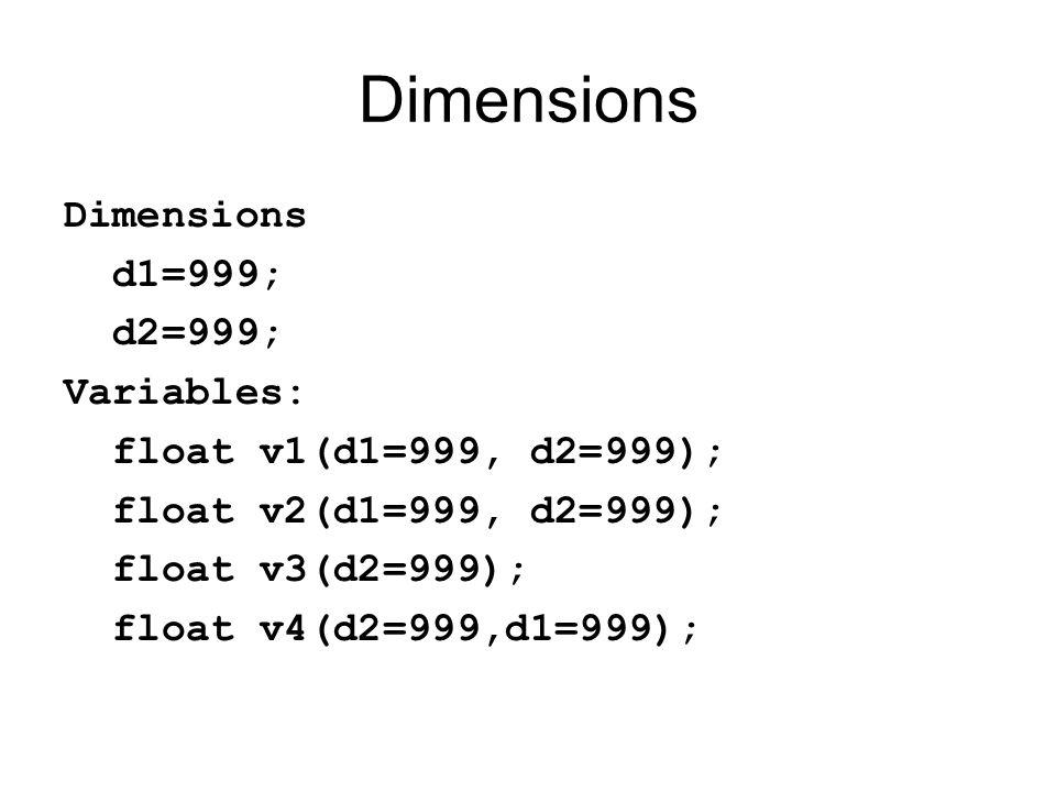 Dimensions Dimensions d1=999; d2=999; Variables: