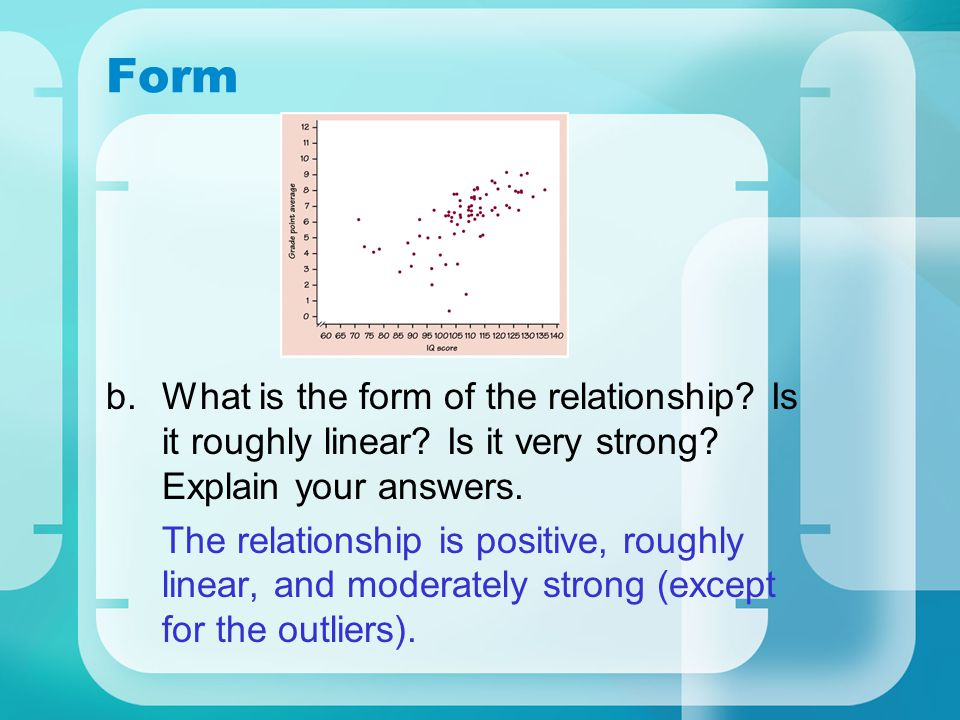 Form What is the form of the relationship Is it roughly linear Is it very strong Explain your answers.