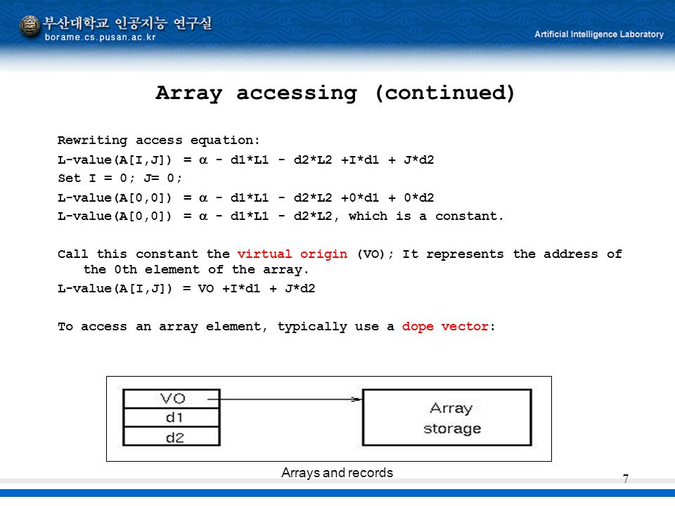 Array accessing (continued)