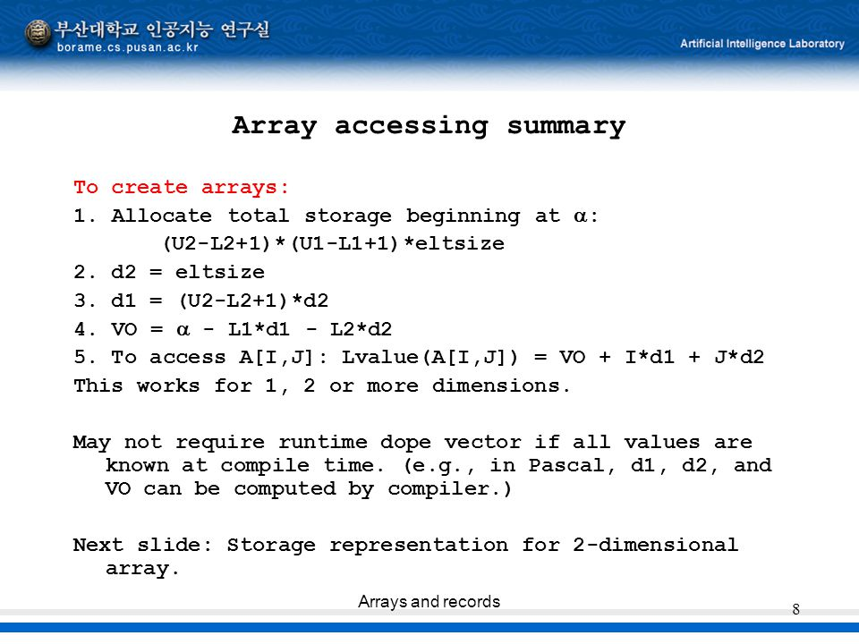 Array accessing summary