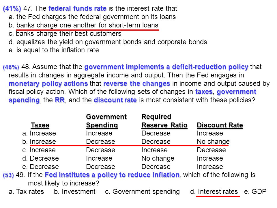 (41%) 47. The federal funds rate is the interest rate that
