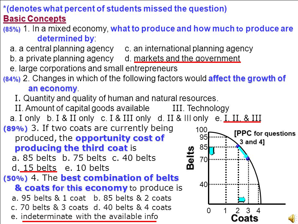 Belts Coats *(denotes what percent of students missed the question)