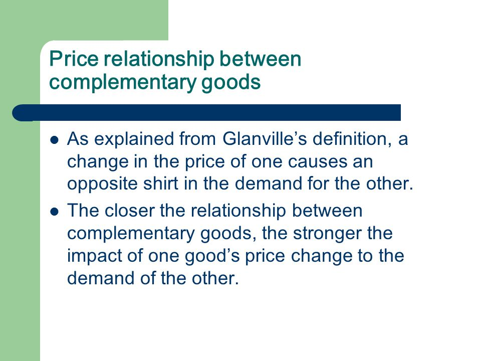 Price relationship between complementary goods