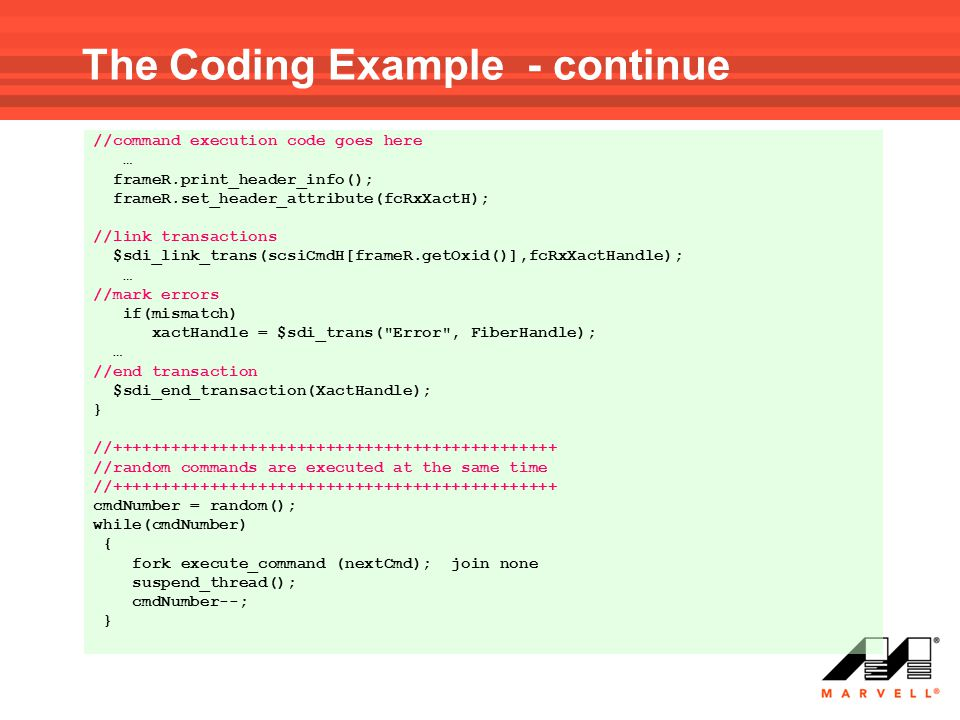 The Coding Example - continue