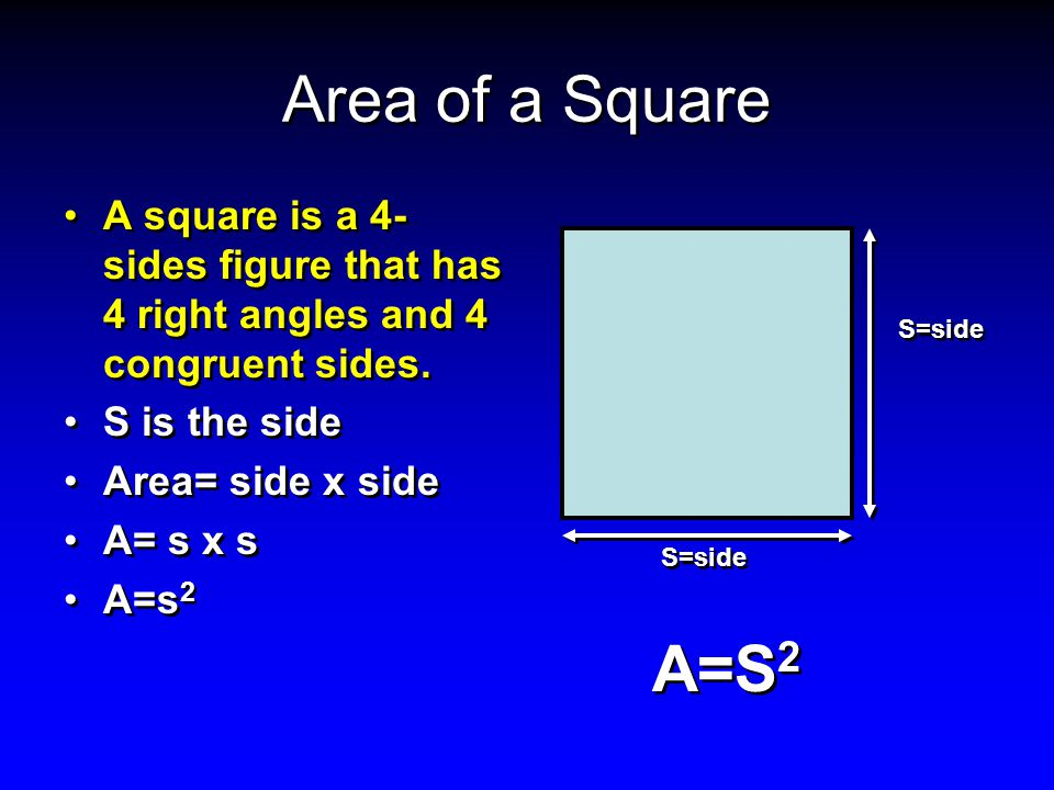 Area of a Square A square is a 4-sides figure that has 4 right angles and 4 congruent sides. S is the side.