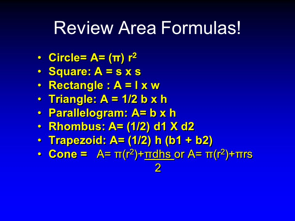 Review Area Formulas! Circle= A= (π) r2 Square: A = s x s