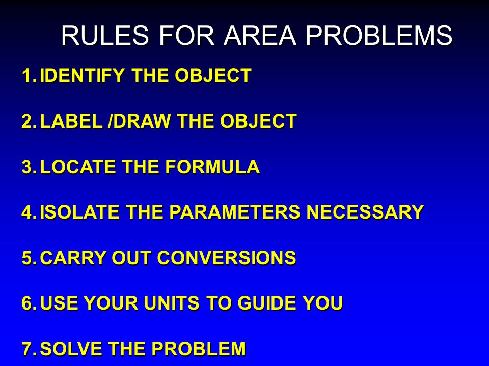 RULES FOR AREA PROBLEMS
