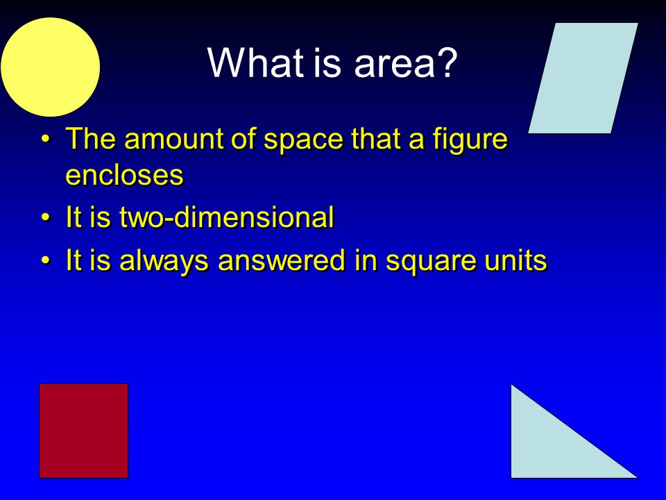 What is area The amount of space that a figure encloses