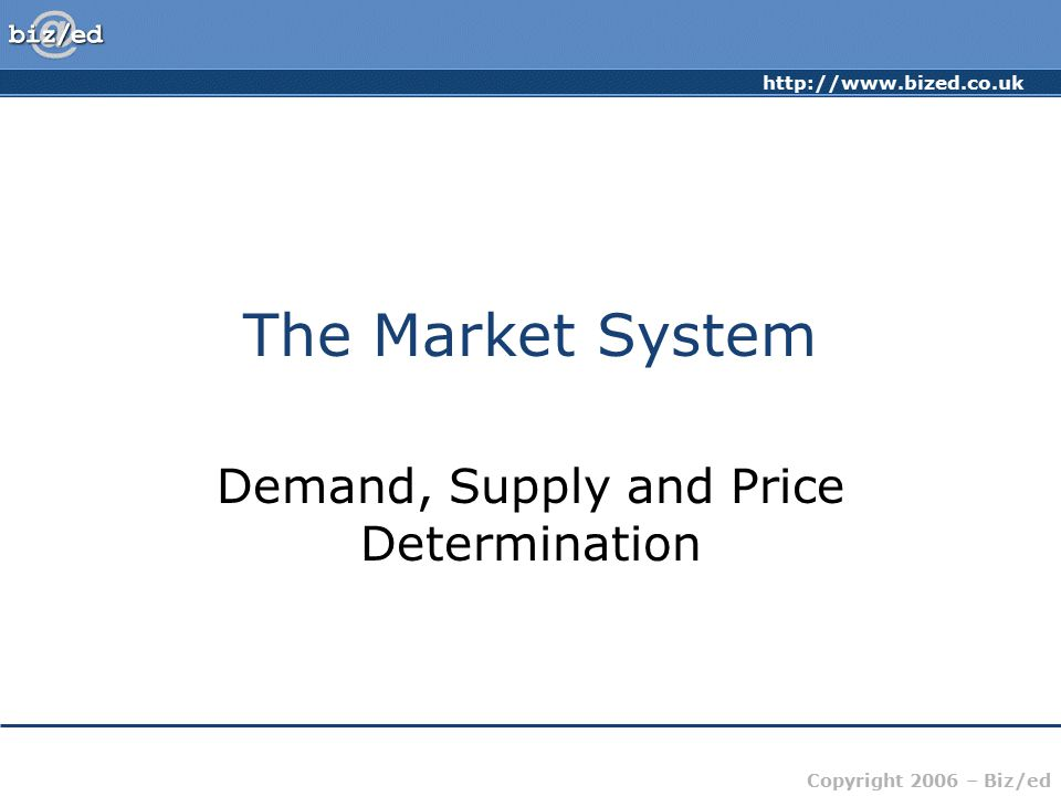 Demand, Supply and Price Determination