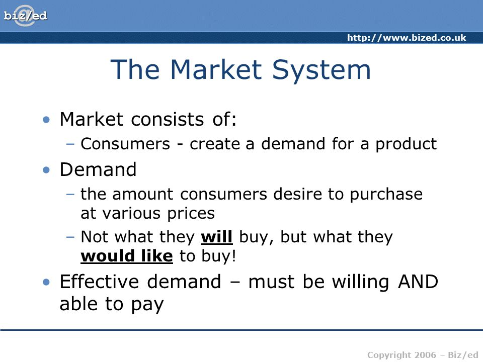 The Market System Market consists of: Demand