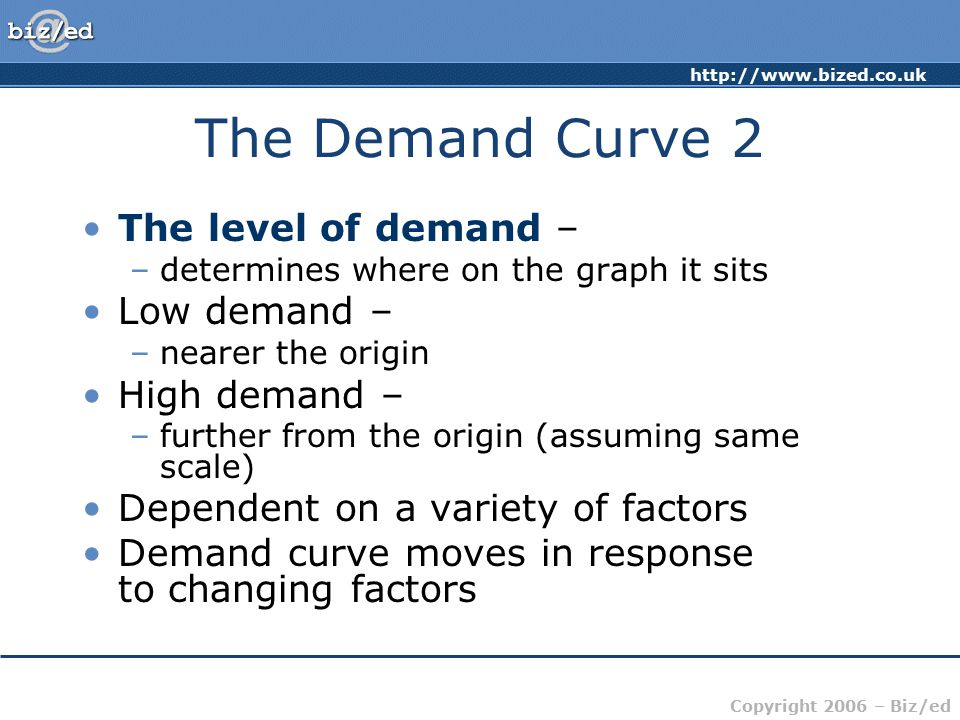 The Demand Curve 2 The level of demand – Low demand – High demand –