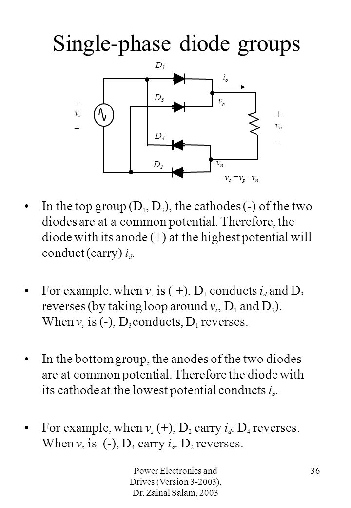 Single-phase diode groups