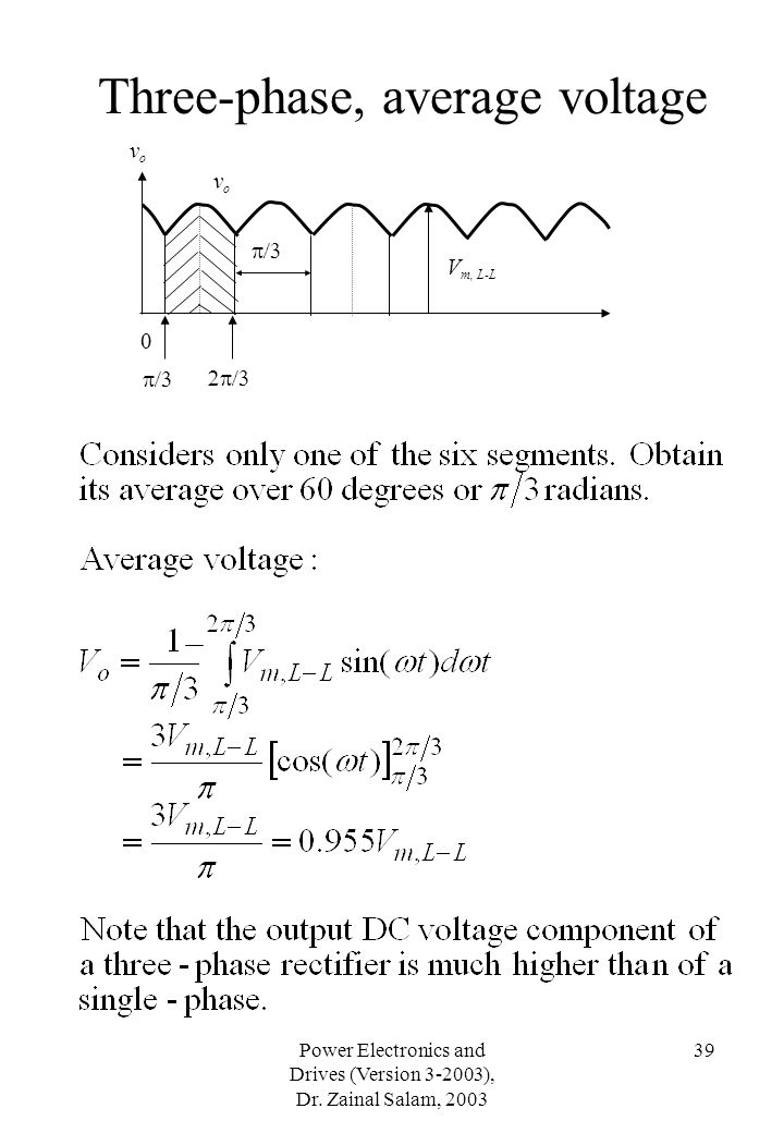 Three-phase, average voltage