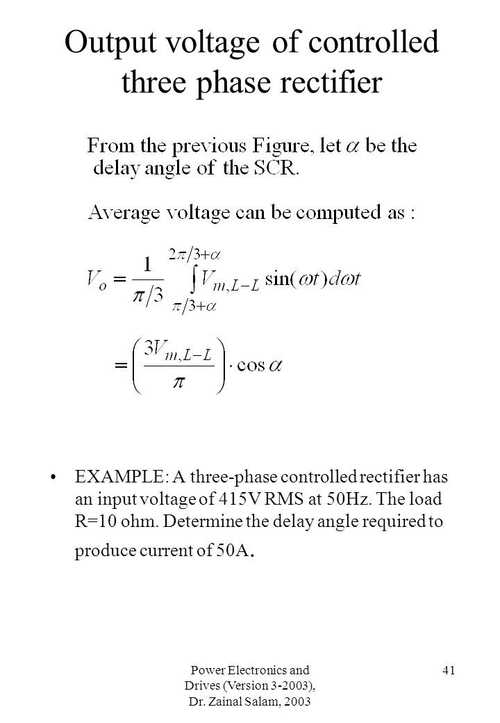 Output voltage of controlled three phase rectifier