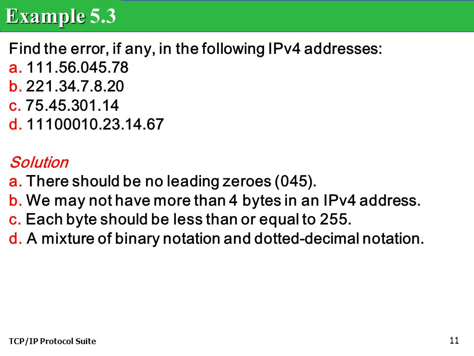 Example 5.3 Find the error, if any, in the following IPv4 addresses: