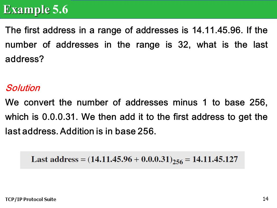 Example 5.6 The first address in a range of addresses is 14.11.45.96. If the number of addresses in the range is 32, what is the last address