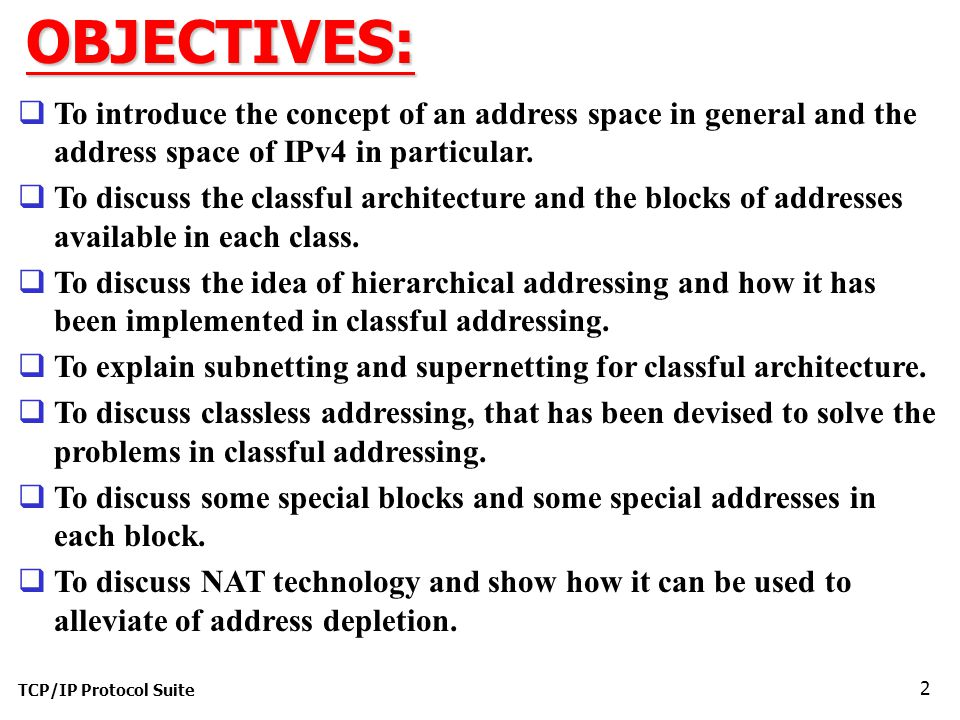 OBJECTIVES: To introduce the concept of an address space in general and the address space of IPv4 in particular.