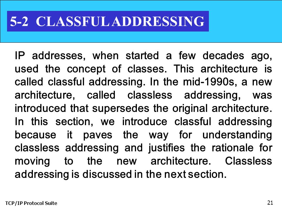 5-2 CLASSFUL ADDRESSING