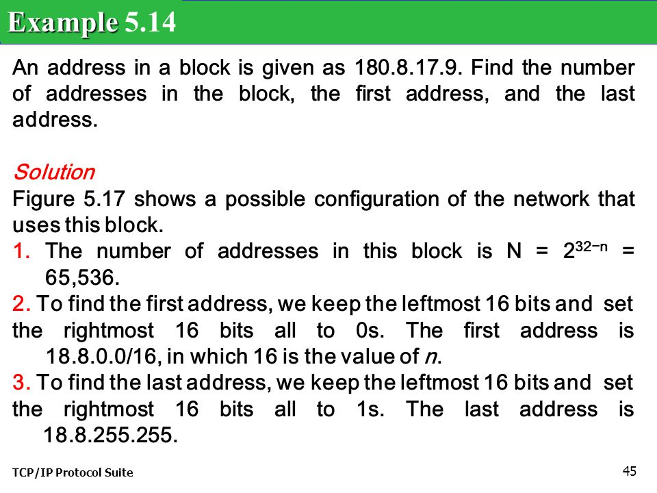 Example 5.14 An address in a block is given as 180.8.17.9. Find the number of addresses in the block, the first address, and the last address.