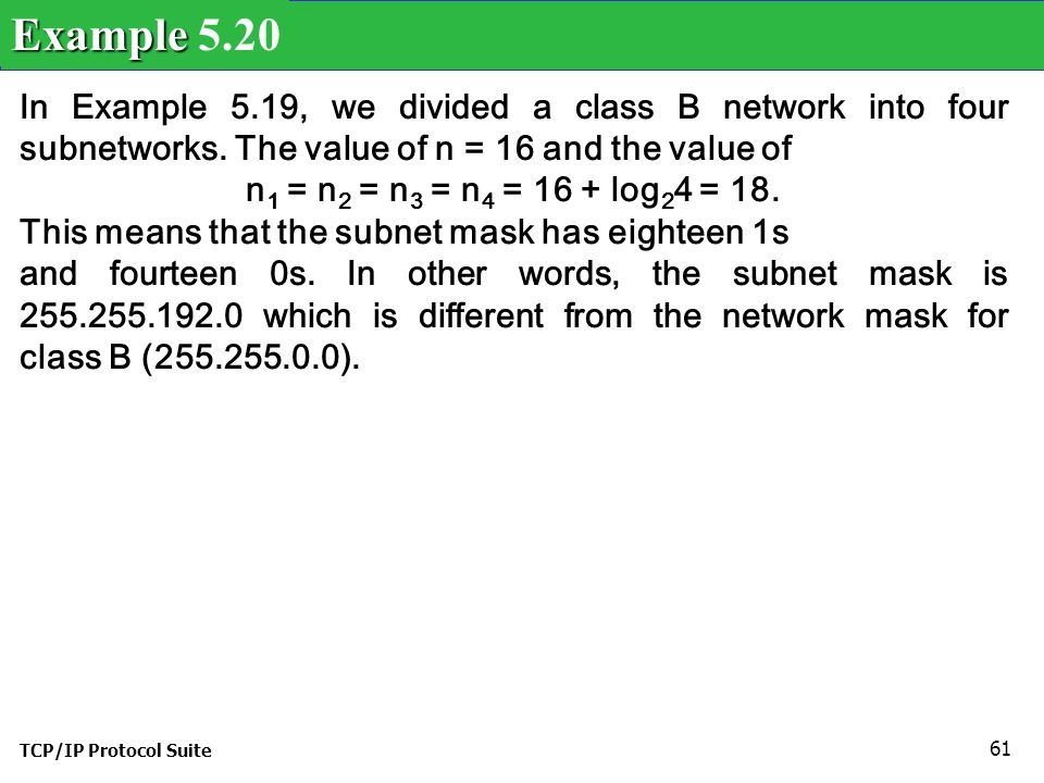 Example 5.20 In Example 5.19, we divided a class B network into four subnetworks. The value of n = 16 and the value of.